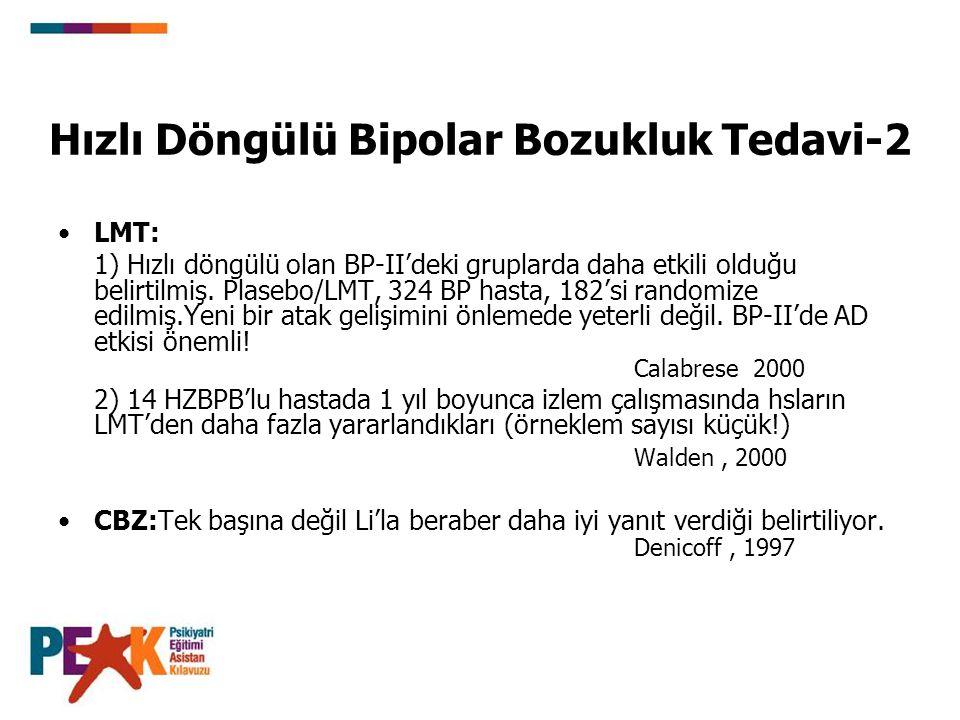 Hızlı Döngülü Bipolar Bozukluk Tedavi-2 LMT: 1) Hızlı döngülü olan BP-II'deki gruplarda daha etkili olduğu belirtilmiş. Plasebo/LMT, 324 BP hasta, 182
