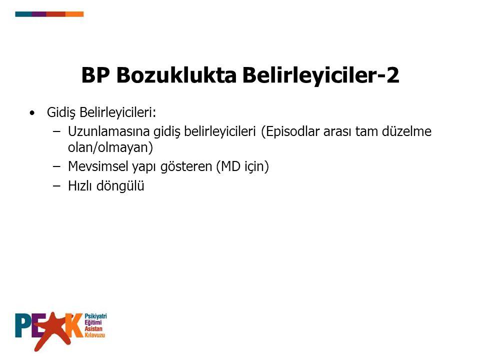 BP Bozuklukta Belirleyiciler-2 Gidiş Belirleyicileri: –Uzunlamasına gidiş belirleyicileri (Episodlar arası tam düzelme olan/olmayan) –Mevsimsel yapı g