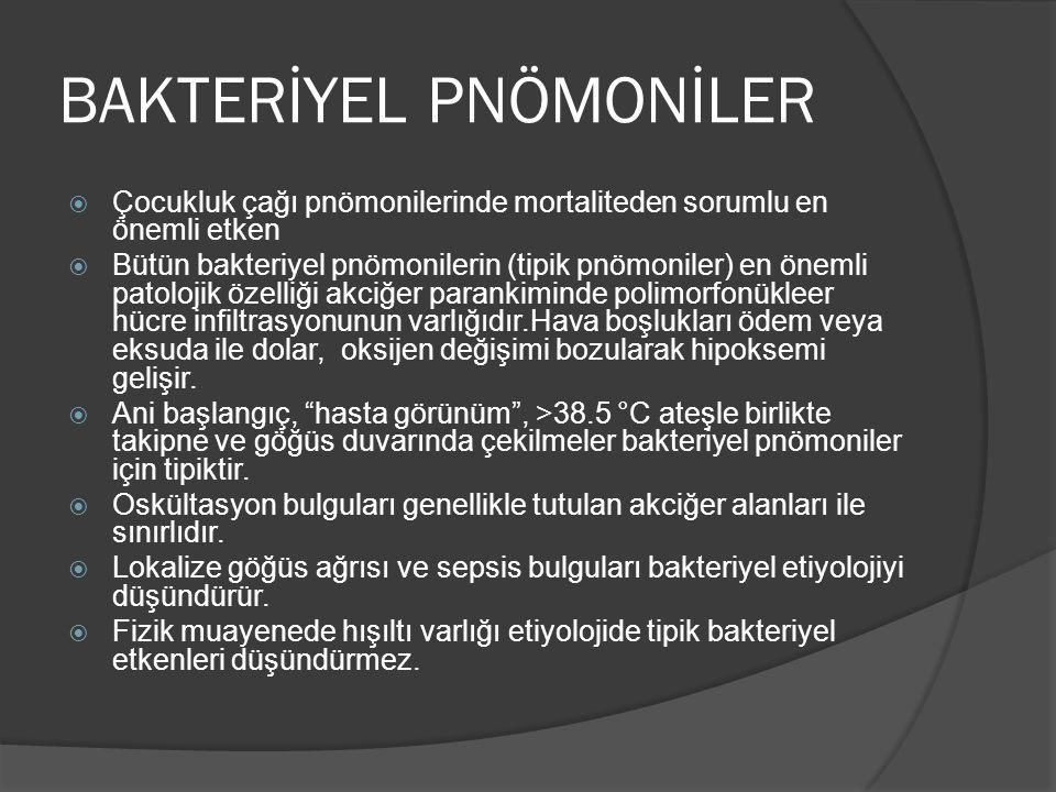 BAKTERİYEL PNÖMONİLER  Çocukluk çağı pnömonilerinde mortaliteden sorumlu en önemli etken  Bütün bakteriyel pnömonilerin (tipik pnömoniler) en önemli