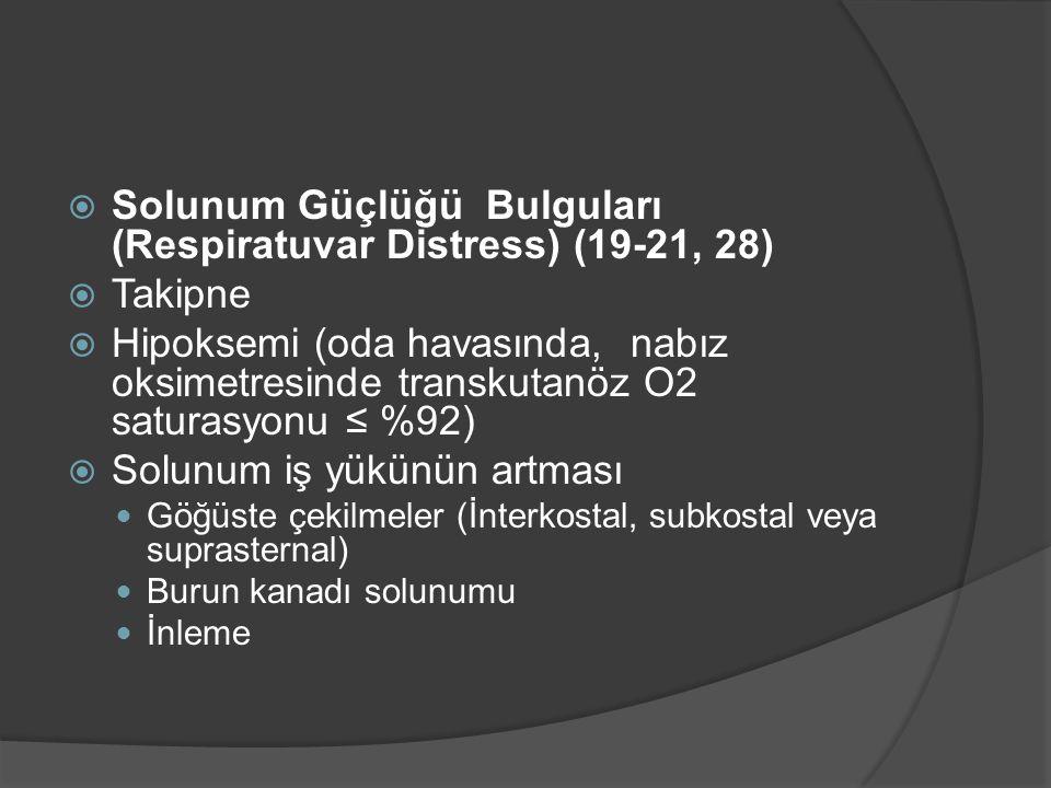  Solunum Güçlüğü Bulguları (Respiratuvar Distress) (19-21, 28)  Takipne  Hipoksemi (oda havasında, nabız oksimetresinde transkutanöz O2 saturasyonu