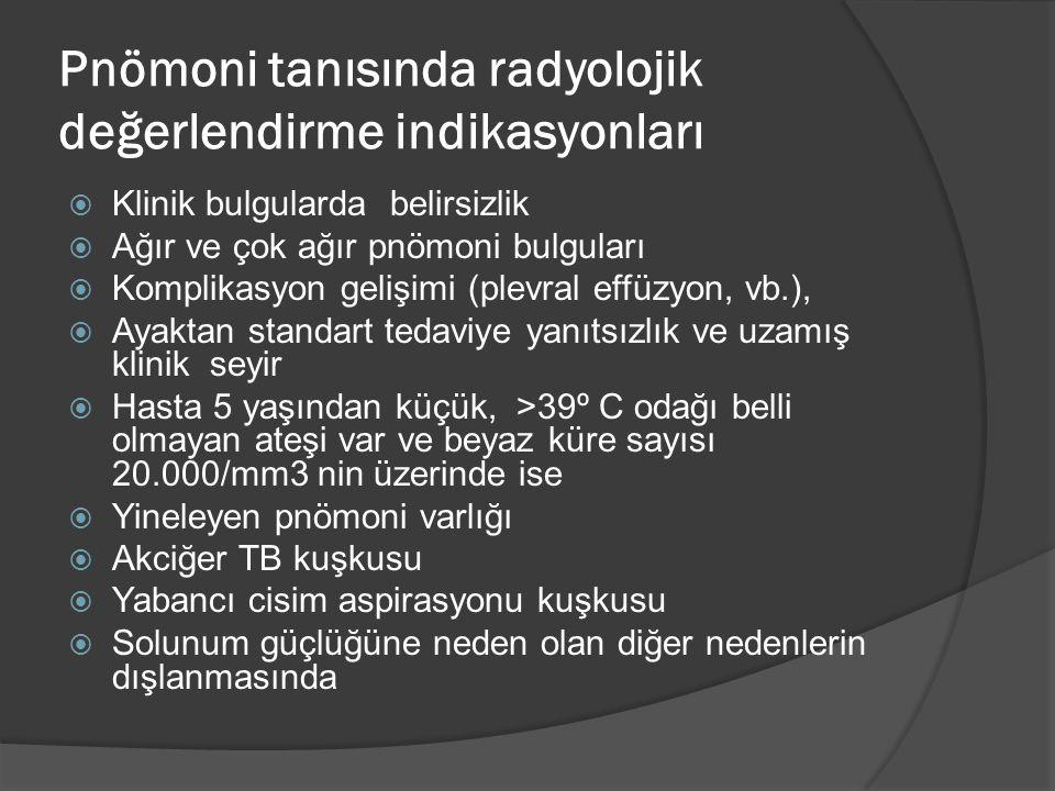 Pnömoni tanısında radyolojik değerlendirme indikasyonları  Klinik bulgularda belirsizlik  Ağır ve çok ağır pnömoni bulguları  Komplikasyon gelişimi