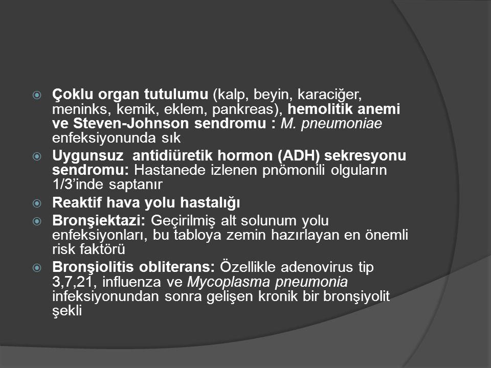  Çoklu organ tutulumu (kalp, beyin, karaciğer, meninks, kemik, eklem, pankreas), hemolitik anemi ve Steven-Johnson sendromu : M. pneumoniae enfeksiyo
