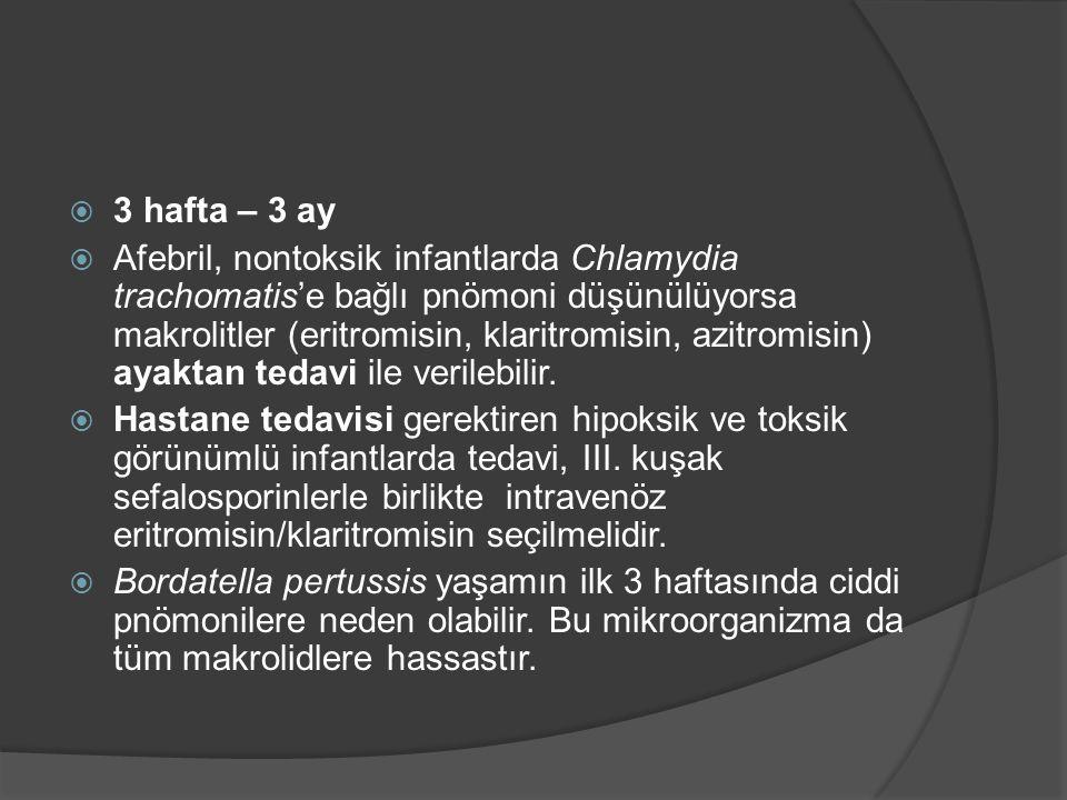  3 hafta – 3 ay  Afebril, nontoksik infantlarda Chlamydia trachomatis'e bağlı pnömoni düşünülüyorsa makrolitler (eritromisin, klaritromisin, azitrom