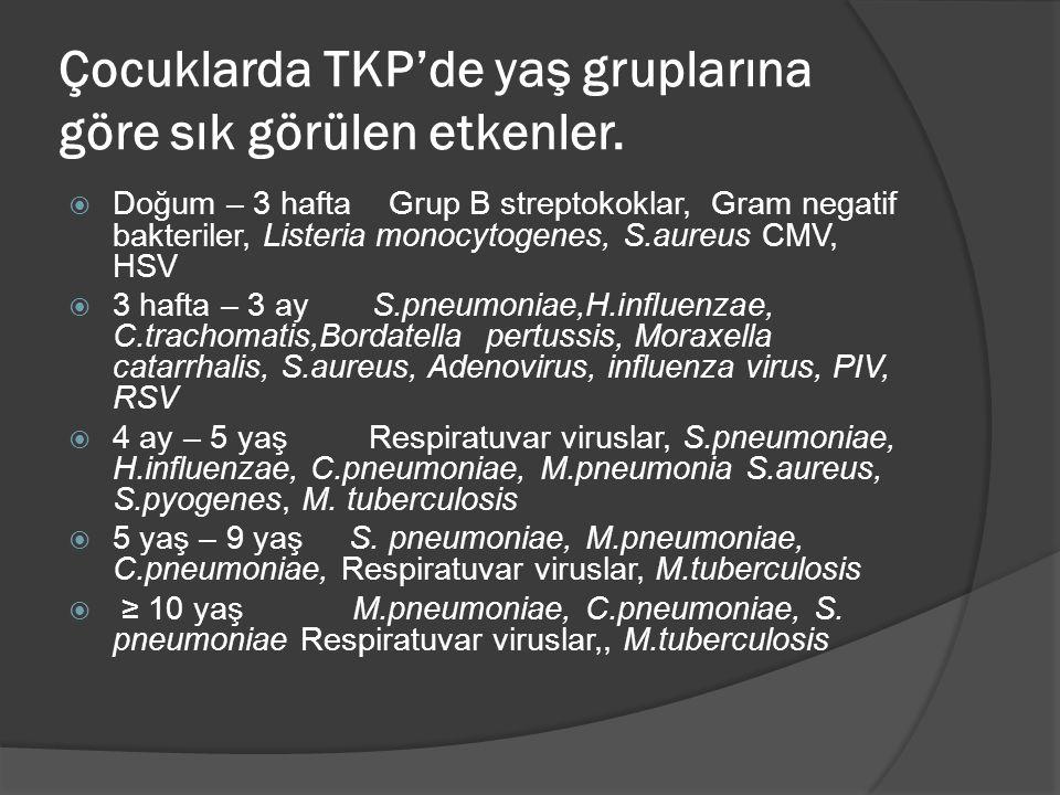 Çocuklarda TKP'de yaş gruplarına göre sık görülen etkenler.  Doğum – 3 hafta Grup B streptokoklar, Gram negatif bakteriler, Listeria monocytogenes, S