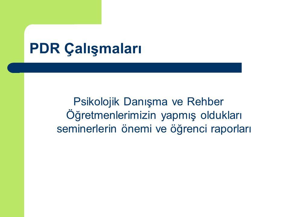 PDR Çalışmaları Psikolojik Danışma ve Rehber Öğretmenlerimizin yapmış oldukları seminerlerin önemi ve öğrenci raporları