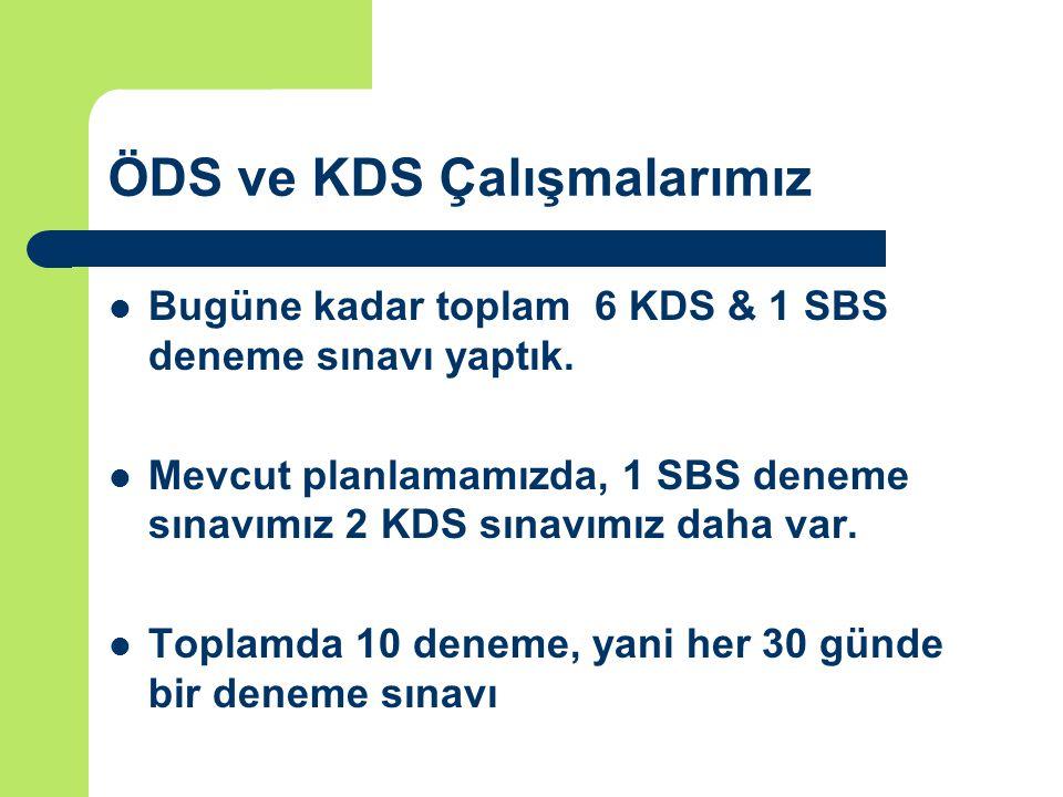 ÖDS ve KDS Çalışmalarımız Bugüne kadar toplam 6 KDS & 1 SBS deneme sınavı yaptık.