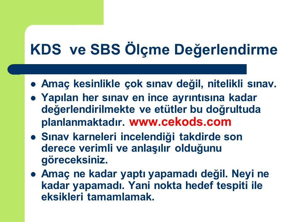 KDS ve SBS Ölçme Değerlendirme Amaç kesinlikle çok sınav değil, nitelikli sınav.