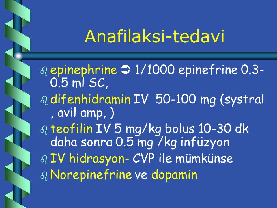 Anafilaksi-proflaksi b b Kaçınma b b immunoterapi