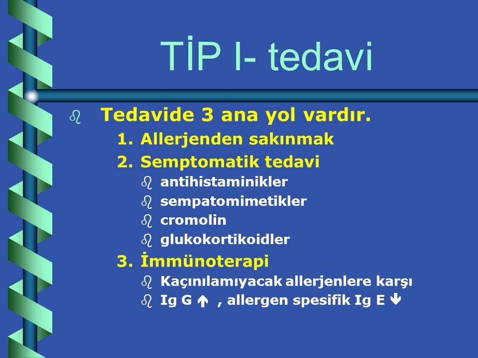 TİP I- tanısal işlemler b b non spesifik kanda eosinofil IG E düzeyi  pulmoner aspergilloziz ve hiper Ig E sendormu b b spesifik cilt testleri – –prick testi- pucture: iğneleme testi – –intradermal testler – –negatif kontrol – –pozitif kontrol  histamin RAST  radioallergosorbant test – –Hasta serumu  bilinen Ag lar ile karşılaştırma  125 I –işaretli Anti-Ig E ile muamele edilir.