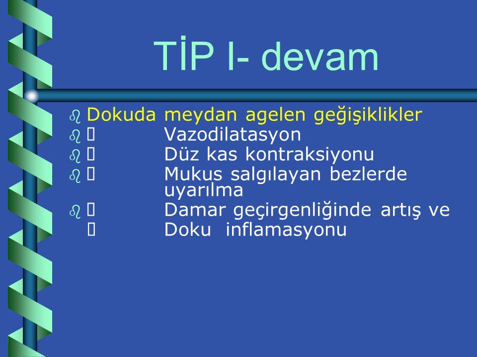 TİP I b b Ig E güdümlüdür.
