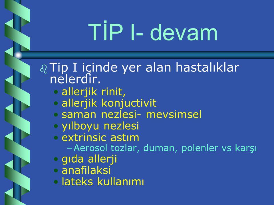 TİP I- devam b b Tip I içinde yer alan hastalıklar nelerdir.