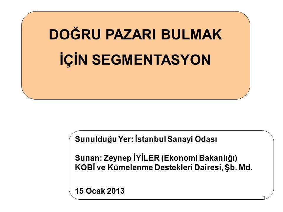 1 DOĞRU PAZARI BULMAK İÇİN SEGMENTASYON Sunulduğu Yer: İstanbul Sanayi Odası Sunan: Zeynep İYİLER (Ekonomi Bakanlığı) KOBİ ve Kümelenme Destekleri Dai
