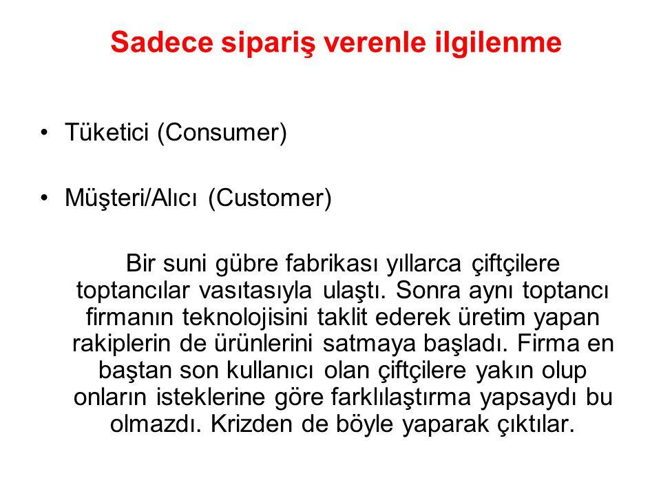 Sadece sipariş verenle ilgilenme Tüketici (Consumer) Müşteri/Alıcı (Customer) Bir suni gübre fabrikası yıllarca çiftçilere toptancılar vasıtasıyla ula