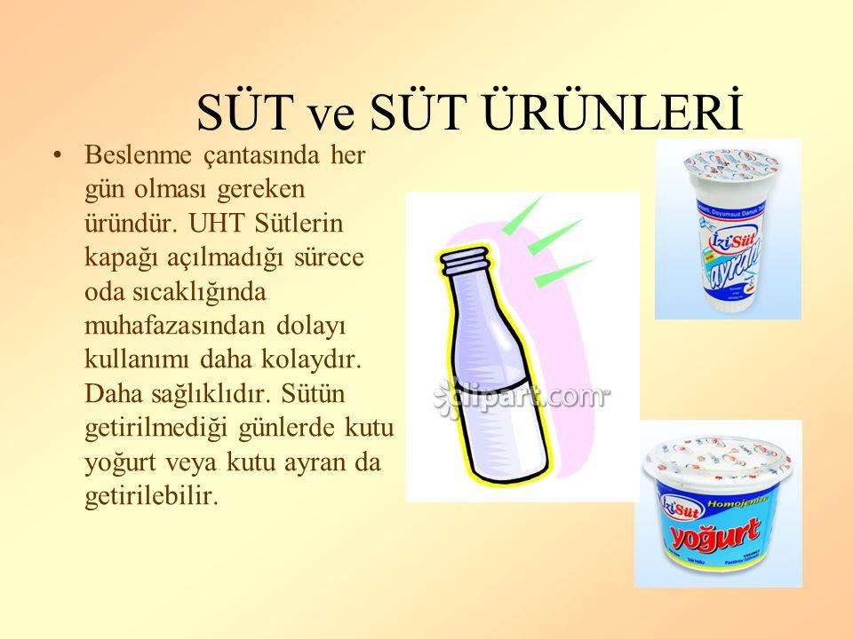 SAĞLIKLI BİR BESLENME ÇANTASINDA Süt ve Süt Ürünleri Et ve Et Ürünleri Tahıl ve Tahıl Ürünleri Sebze ve Meyve Bulunmalıdır.
