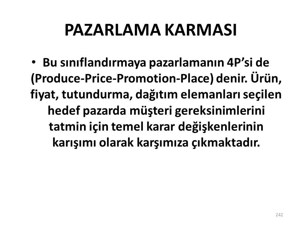 PAZARLAMA KARMASI 242 Bu sınıflandırmaya pazarlamanın 4P'si de (Produce-Price-Promotion-Place) denir. Ürün, fiyat, tutundurma, dağıtım elemanları seçi