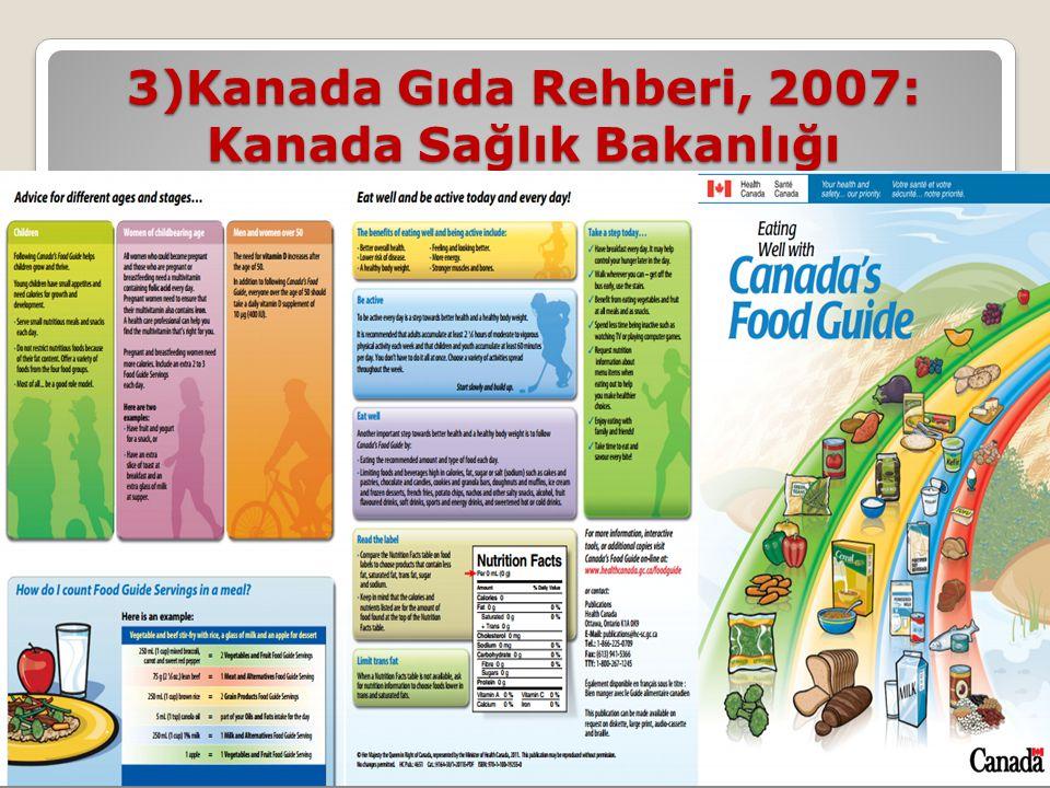 3)Kanada Gıda Rehberi, 2007: Kanada Sağlık Bakanlığı