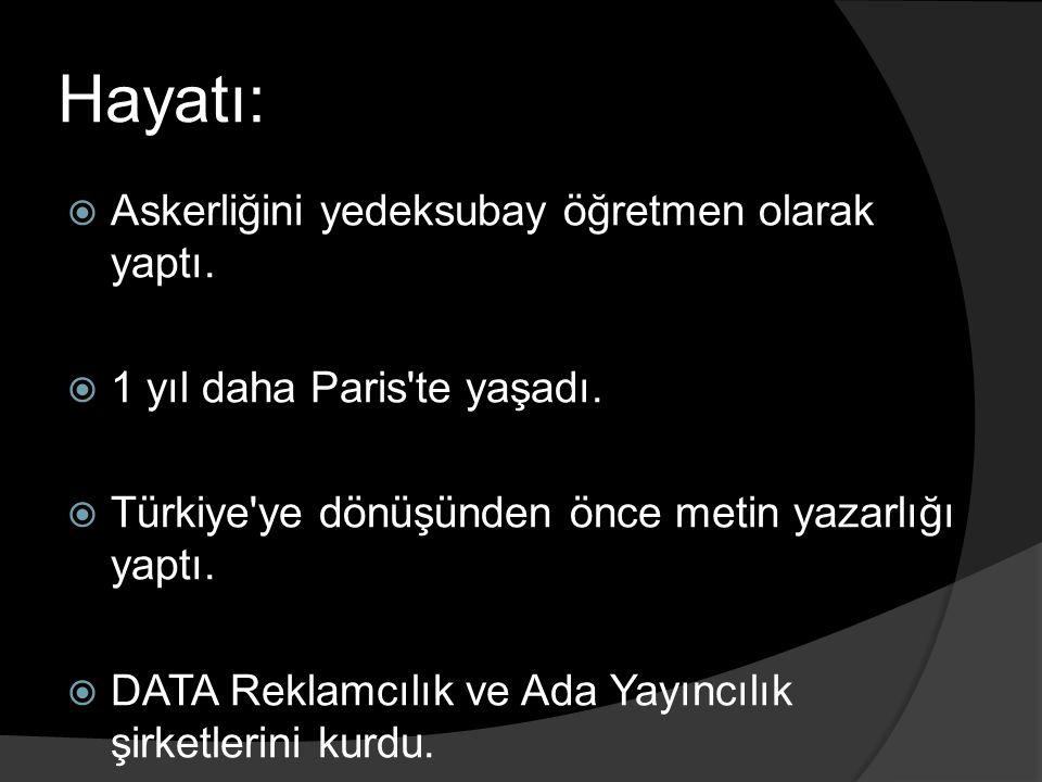 Eserleri:  Şiirleri: ○ Ah Min-el Aşk (1978) ○ Dağ Şiirleri (1999)  Anı: ○ Görsel Yolculuklar (2003)