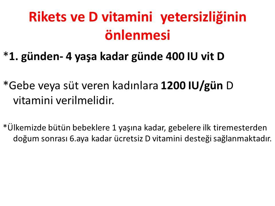 Rikets ve D vitamini yetersizliğinin önlenmesi *1. günden- 4 yaşa kadar günde 400 IU vit D *Gebe veya süt veren kadınlara 1200 IU/gün D vitamini veril