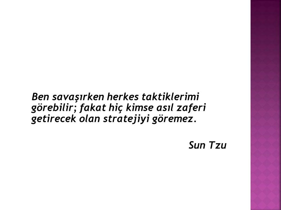 Ben savaşırken herkes taktiklerimi görebilir; fakat hiç kimse asıl zaferi getirecek olan stratejiyi göremez. Sun Tzu