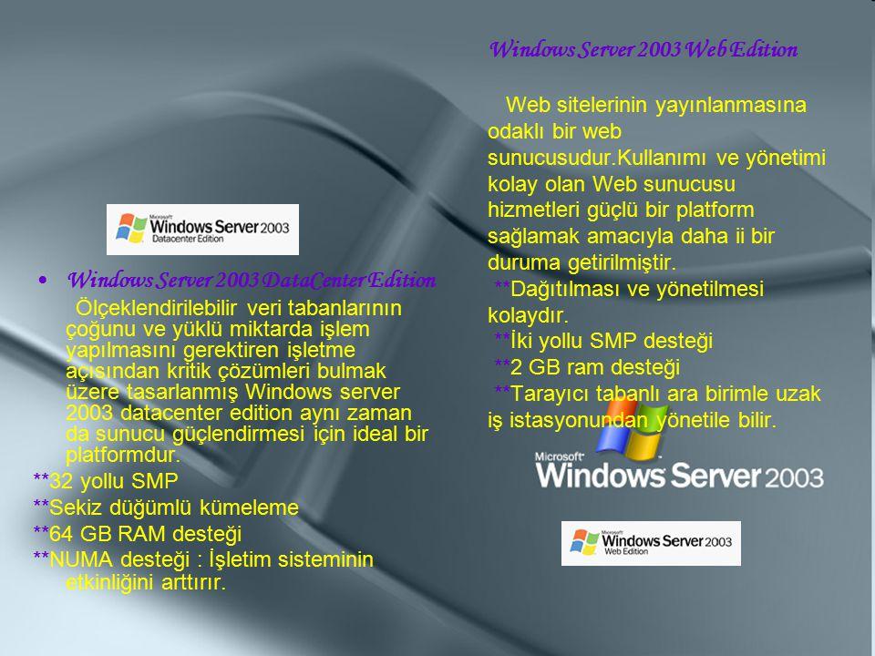 Windows Server 2003 Web Edition Web sitelerinin yayınlanmasına odaklı bir web sunucusudur.Kullanımı ve yönetimi kolay olan Web sunucusu hizmetleri güç