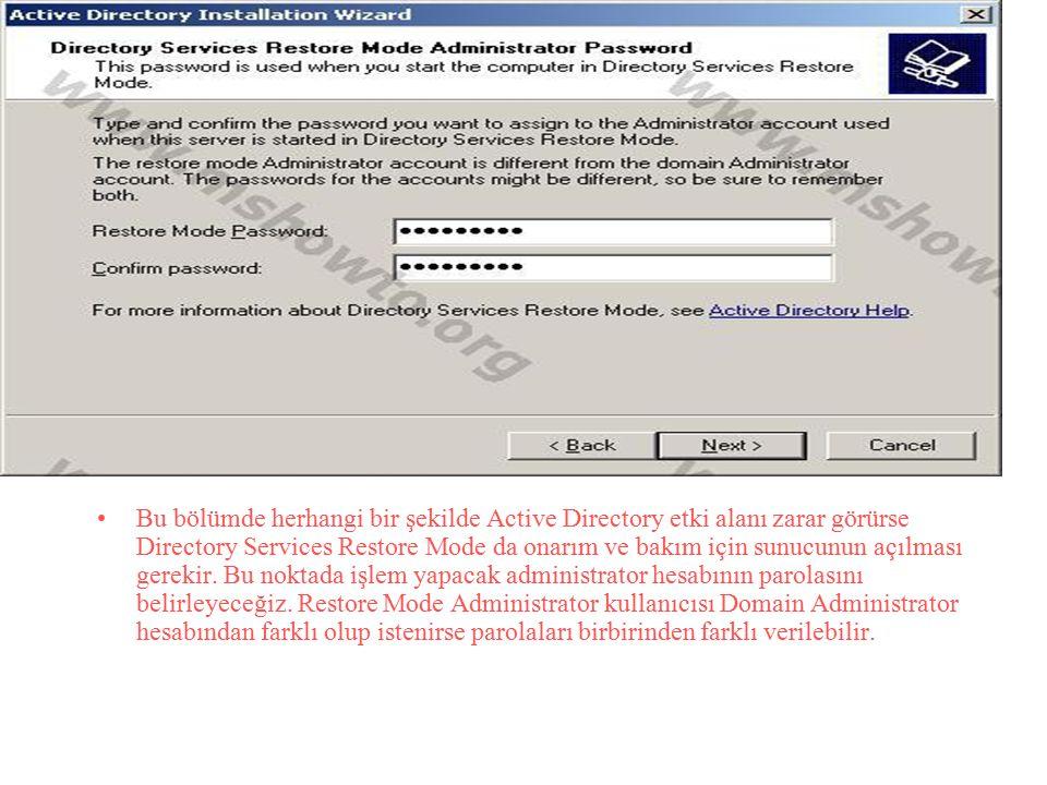 Bu bölümde herhangi bir şekilde Active Directory etki alanı zarar görürse Directory Services Restore Mode da onarım ve bakım için sunucunun açılması g