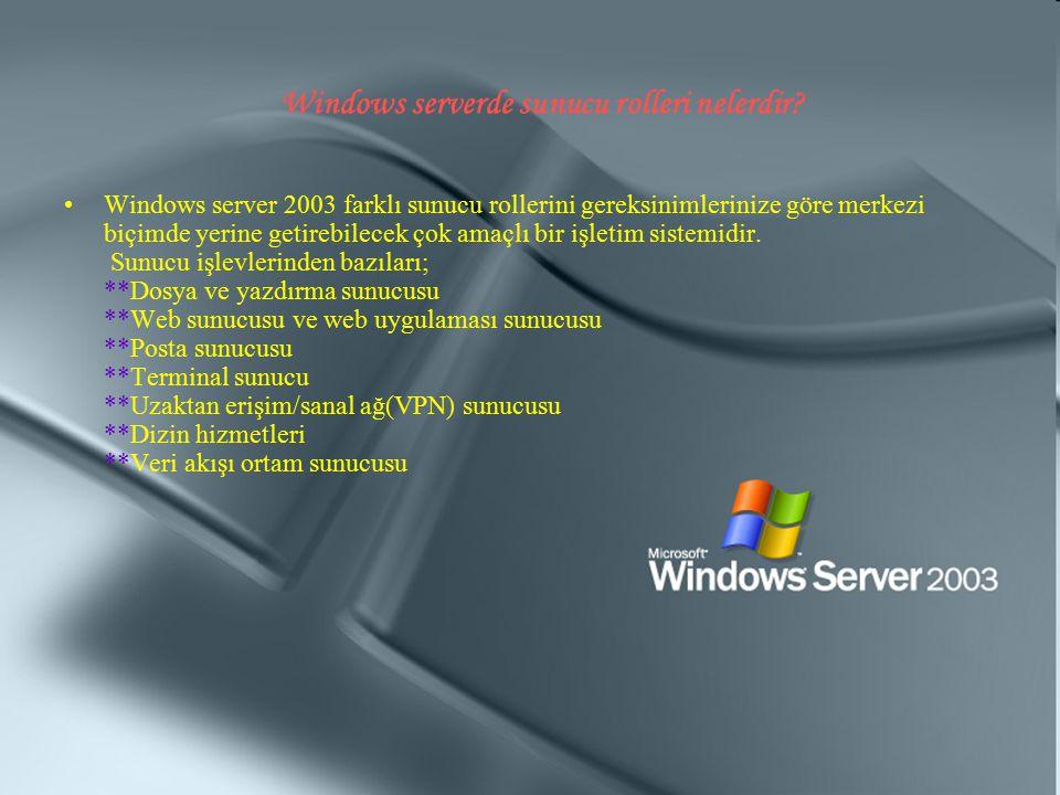Windows serverde sunucu rolleri nelerdir? Windows server 2003 farklı sunucu rollerini gereksinimlerinize göre merkezi biçimde yerine getirebilecek çok
