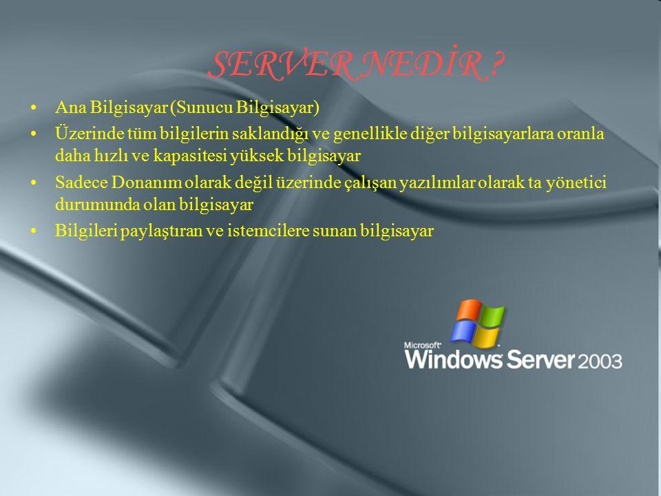 SERVER NEDİR ? Ana Bilgisayar (Sunucu Bilgisayar) Üzerinde tüm bilgilerin saklandığı ve genellikle diğer bilgisayarlara oranla daha hızlı ve kapasites
