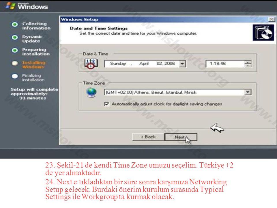 23. Şekil-21 de kendi Time Zone umuzu seçelim. Türkiye +2 de yer almaktadır. 24. Next e tıkladıktan bir süre sonra karşımıza Networking Setup gelecek.