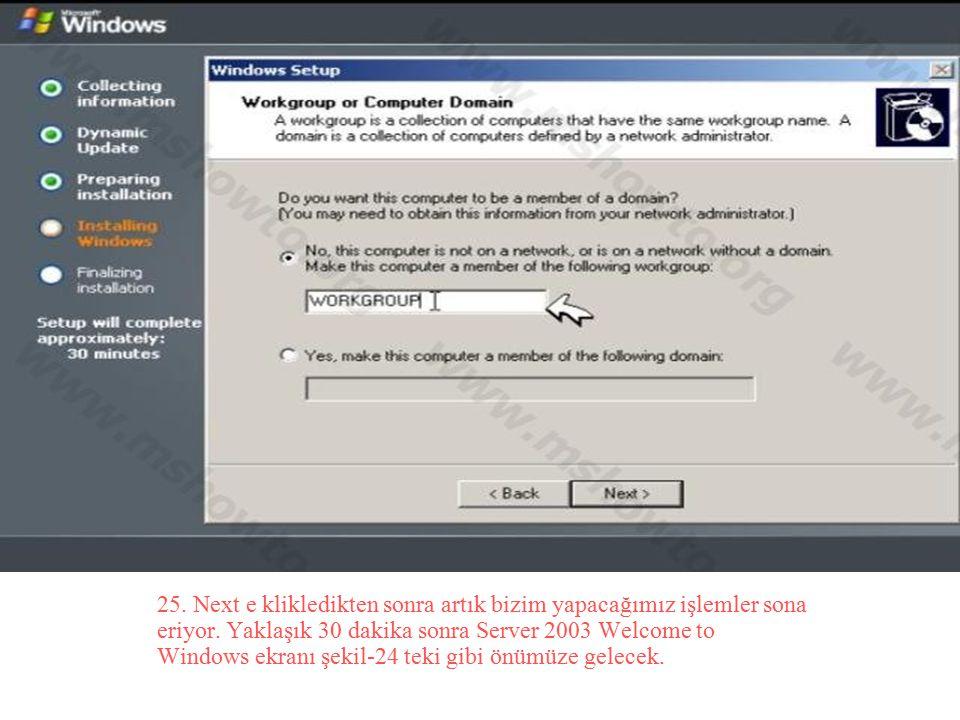 25. Next e klikledikten sonra artık bizim yapacağımız işlemler sona eriyor. Yaklaşık 30 dakika sonra Server 2003 Welcome to Windows ekranı şekil-24 te
