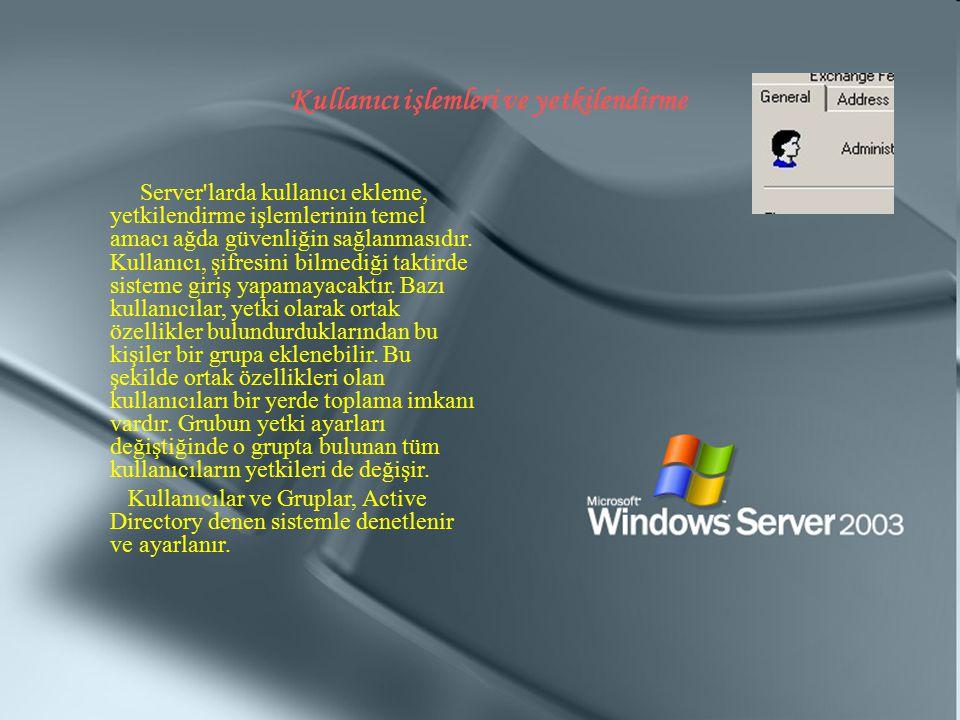 Kullanıcı işlemleri ve yetkilendirme Server'larda kullanıcı ekleme, yetkilendirme işlemlerinin temel amacı ağda güvenliğin sağlanmasıdır. Kullanıcı, ş