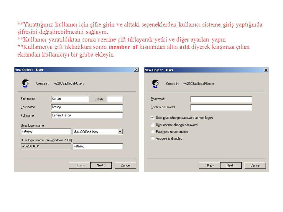 **Yarattığınız kullanıcı için şifre girin ve alttaki seçeneklerden kullanıcı sisteme giriş yaptığında şifresini değiştirebilmesini sağlayın. **Kullanı