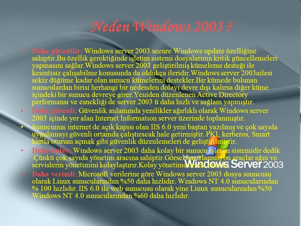 Neden Windows 2003 ? Daha güvenilir; Windows server 2003 secure Windows update özelliğine sahiptir.Bu özellik gerektiğinde işletim sistemi dosyalarını