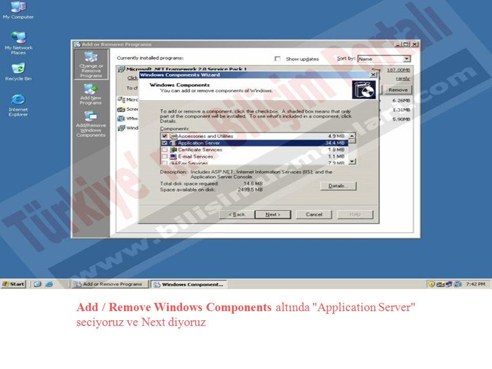 Add / Remove Windows Components altında