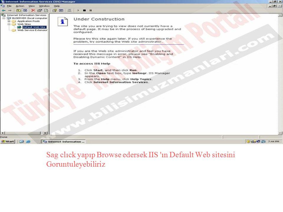 Sag clıck yapıp Browse edersek IIS 'ın Default Web sitesini Goruntuleyebiliriz