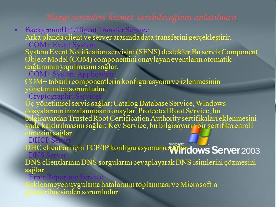 Hangi servislere hizmet verebileceğinin anlatılması Background Intelligent Transfer Service Arka planda client ve server arasında data transferini ger