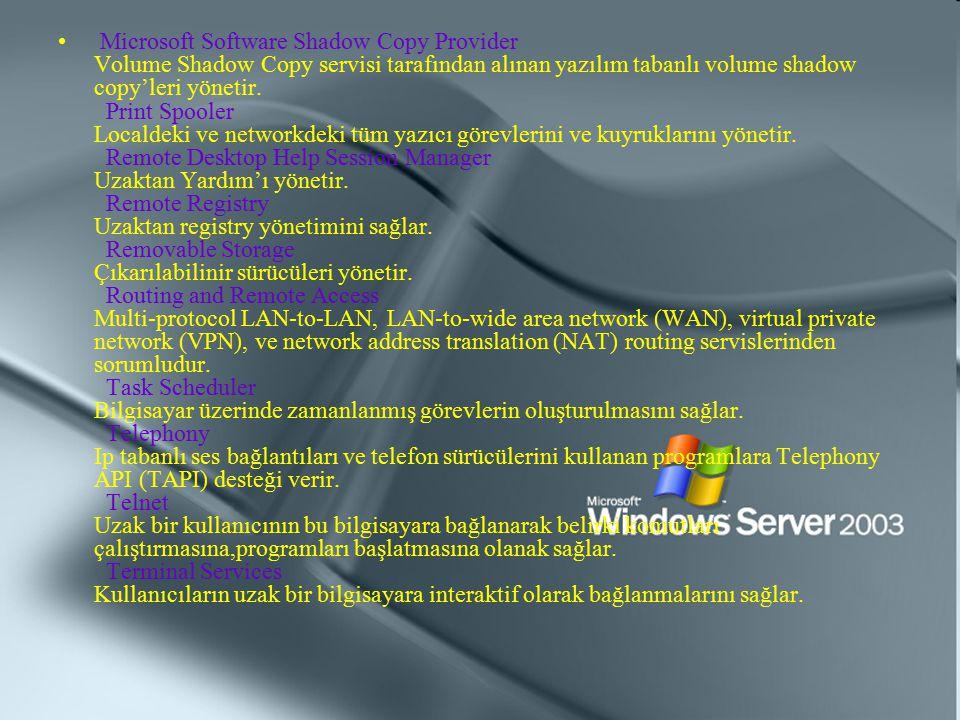 Microsoft Software Shadow Copy Provider Volume Shadow Copy servisi tarafından alınan yazılım tabanlı volume shadow copy'leri yönetir. Print Spooler Lo