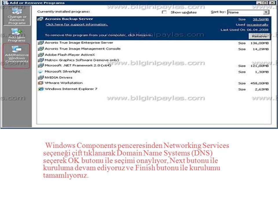 Windows Components penceresinden Networking Services seçeneği çift tıklanarak Domain Name Systems (DNS) seçerek OK butonu ile seçimi onaylıyor, Next b
