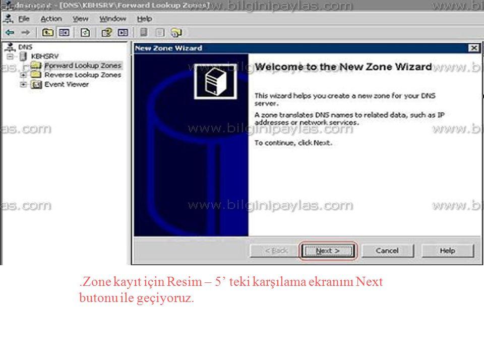.Zone kayıt için Resim – 5' teki karşılama ekranını Next butonu ile geçiyoruz.