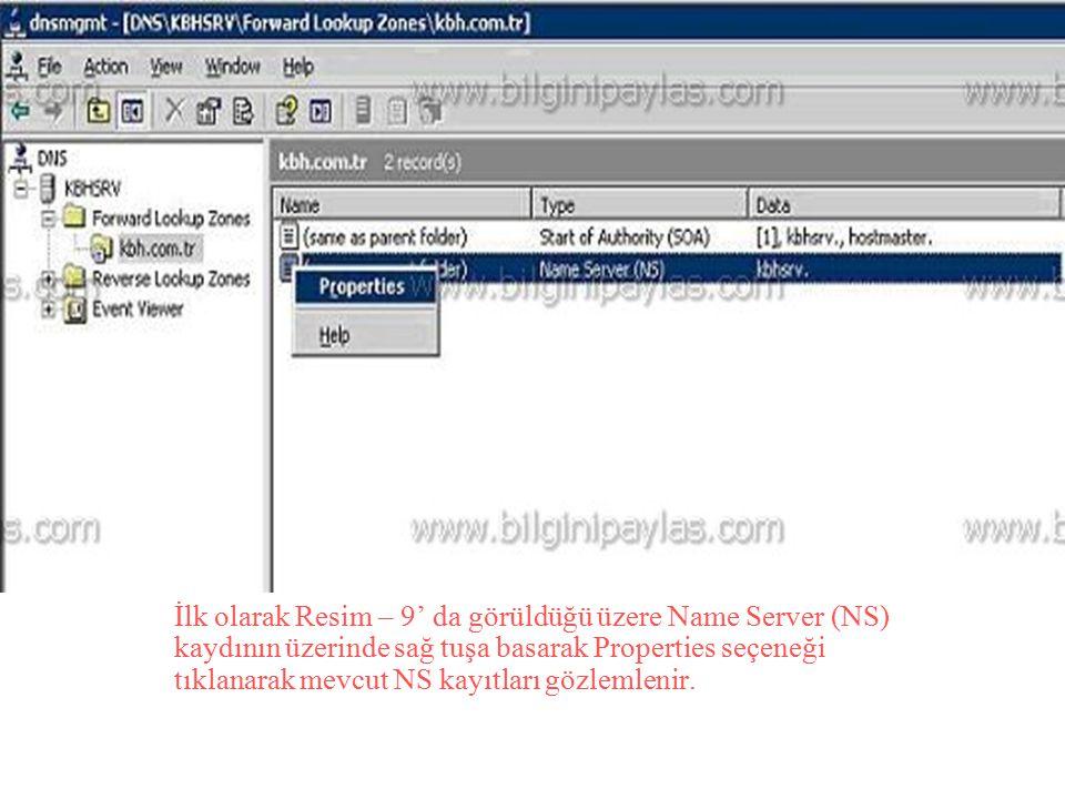 İlk olarak Resim – 9' da görüldüğü üzere Name Server (NS) kaydının üzerinde sağ tuşa basarak Properties seçeneği tıklanarak mevcut NS kayıtları gözlem
