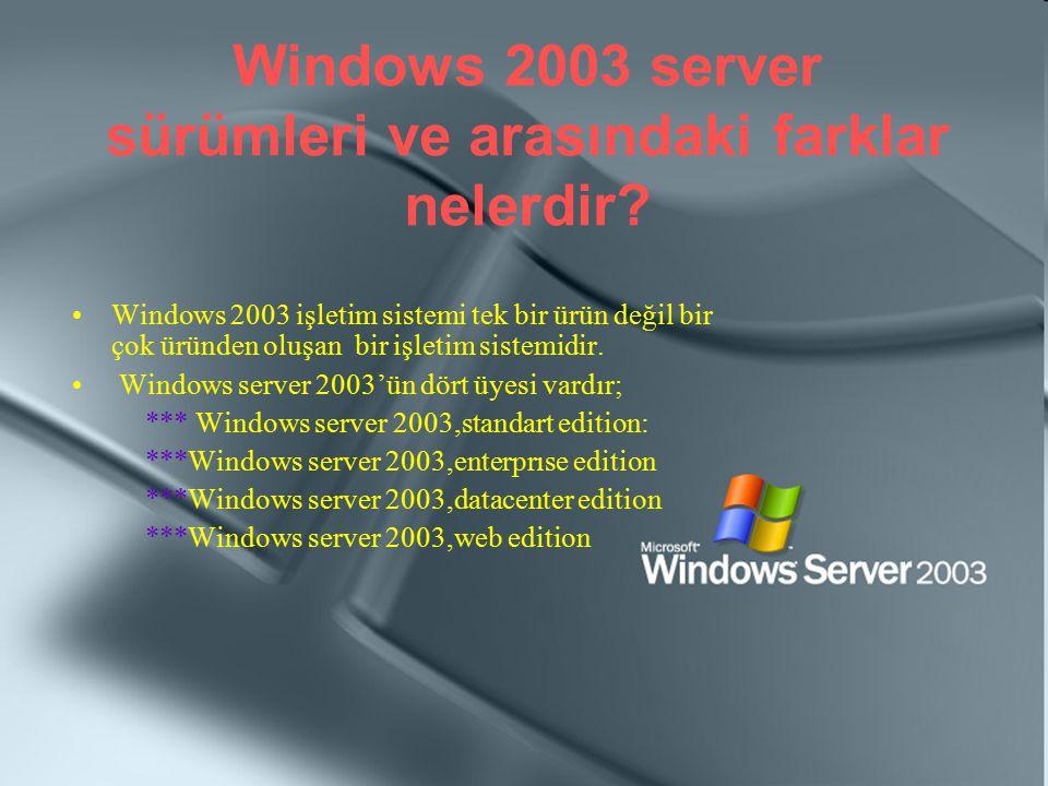 Windows 2003 server sürümleri ve arasındaki farklar nelerdir? Windows 2003 işletim sistemi tek bir ürün değil bir çok üründen oluşan bir işletim siste