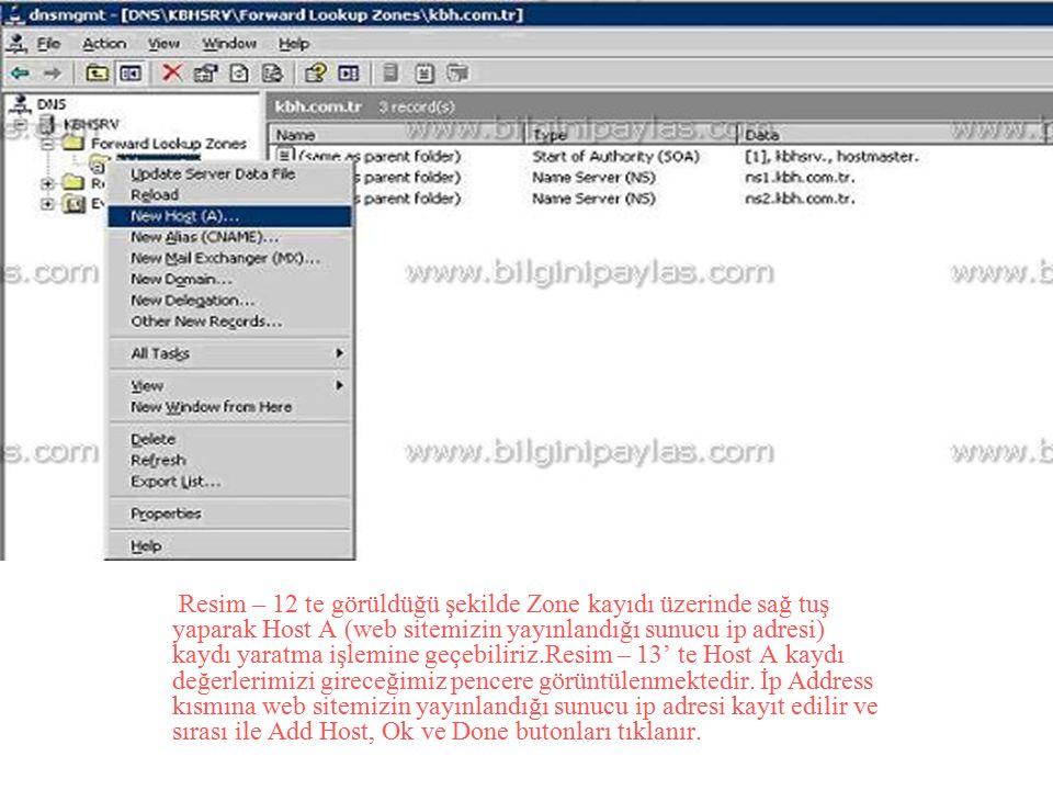 Resim – 12 te görüldüğü şekilde Zone kayıdı üzerinde sağ tuş yaparak Host A (web sitemizin yayınlandığı sunucu ip adresi) kaydı yaratma işlemine geçeb