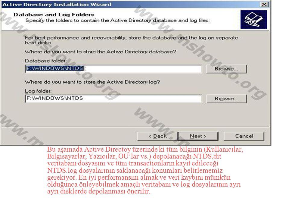 Bu aşamada Active Directoy üzerinde ki tüm bilginin (Kullanıcılar, Bilgisayarlar, Yazıcılar, OU'lar vs.) depolanacağı NTDS.dit veritabanı dosyasını ve