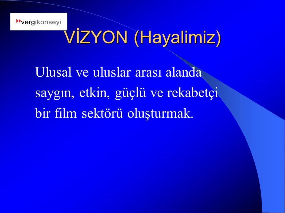 VİZYON (Hayalimiz) Ulusal ve uluslar arası alanda saygın, etkin, güçlü ve rekabetçi bir film sektörü oluşturmak.