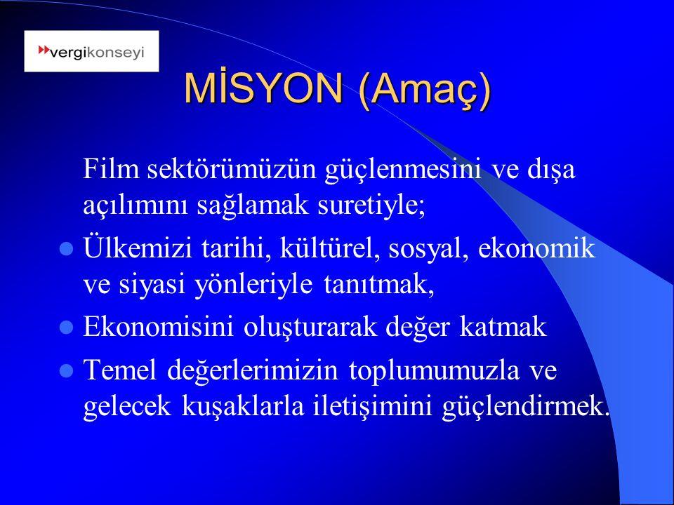MİSYON (Amaç) Film sektörümüzün güçlenmesini ve dışa açılımını sağlamak suretiyle; Ülkemizi tarihi, kültürel, sosyal, ekonomik ve siyasi yönleriyle ta