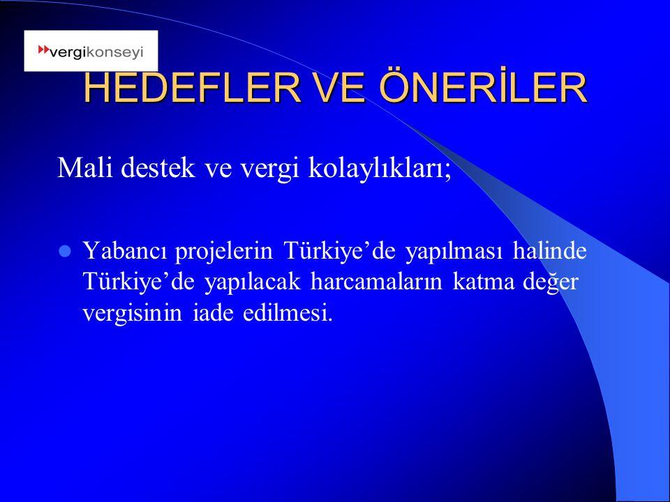 HEDEFLER VE ÖNERİLER Mali destek ve vergi kolaylıkları; Yabancı projelerin Türkiye'de yapılması halinde Türkiye'de yapılacak harcamaların katma değer vergisinin iade edilmesi.