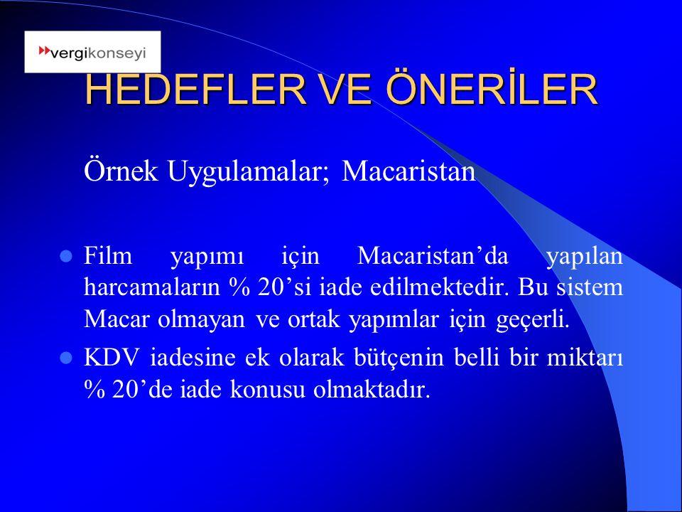 HEDEFLER VE ÖNERİLER Örnek Uygulamalar; Macaristan Film yapımı için Macaristan'da yapılan harcamaların % 20'si iade edilmektedir. Bu sistem Macar olma