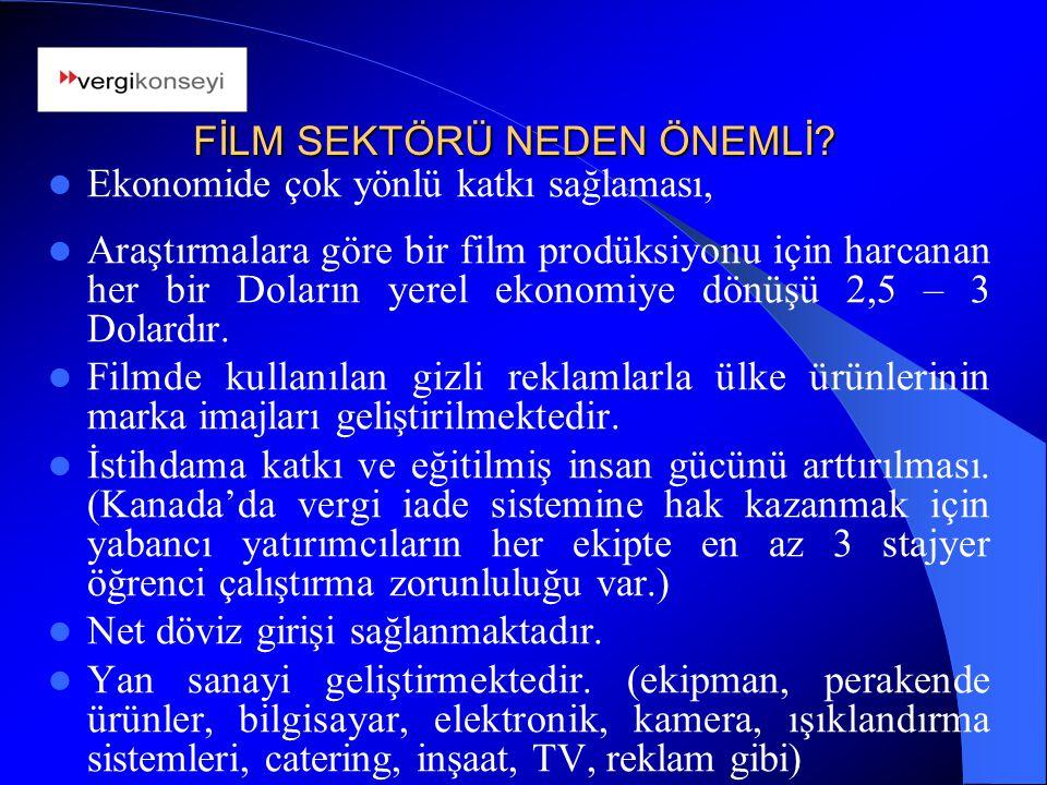 Ekonomide çok yönlü katkı sağlaması, Araştırmalara göre bir film prodüksiyonu için harcanan her bir Doların yerel ekonomiye dönüşü 2,5 – 3 Dolardır.