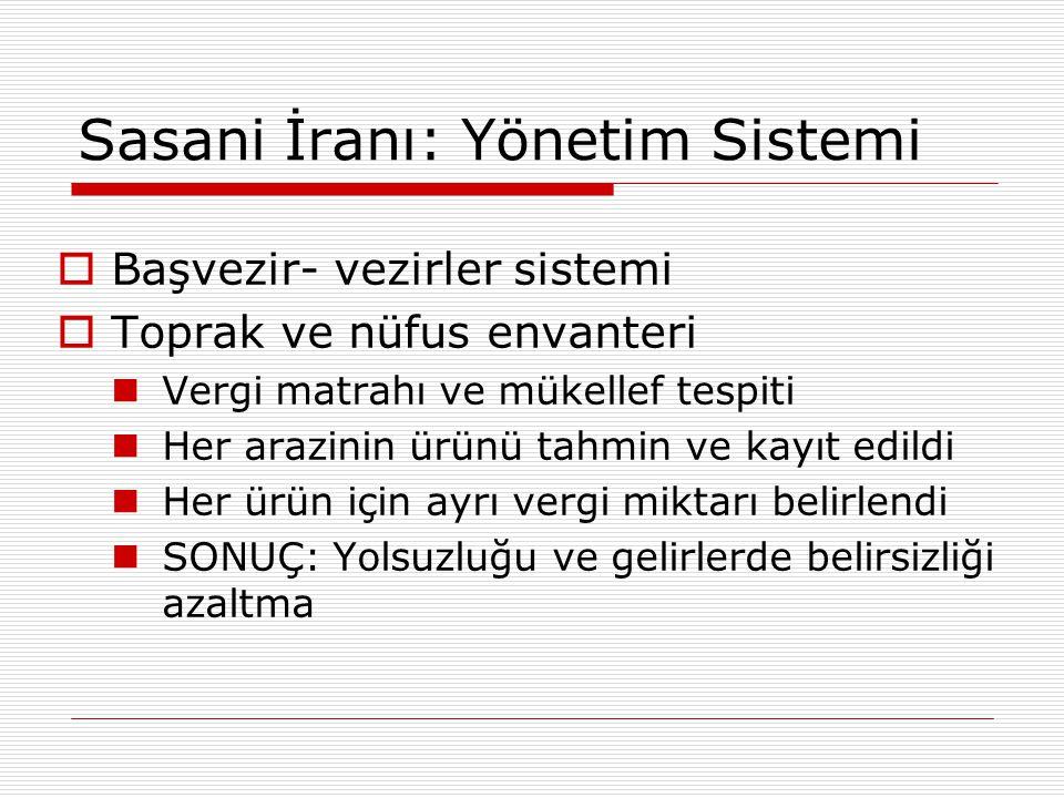 Sasani İranı: Yönetim Sistemi  Başvezir- vezirler sistemi  Toprak ve nüfus envanteri Vergi matrahı ve mükellef tespiti Her arazinin ürünü tahmin ve