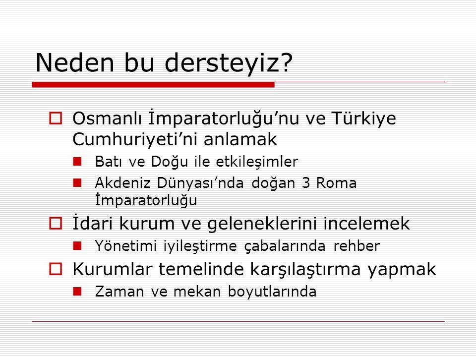 Neden bu dersteyiz?  Osmanlı İmparatorluğu'nu ve Türkiye Cumhuriyeti'ni anlamak Batı ve Doğu ile etkileşimler Akdeniz Dünyası'nda doğan 3 Roma İmpara