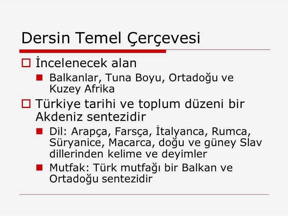 Dersin Temel Çerçevesi  İncelenecek alan Balkanlar, Tuna Boyu, Ortadoğu ve Kuzey Afrika  Türkiye tarihi ve toplum düzeni bir Akdeniz sentezidir Dil: